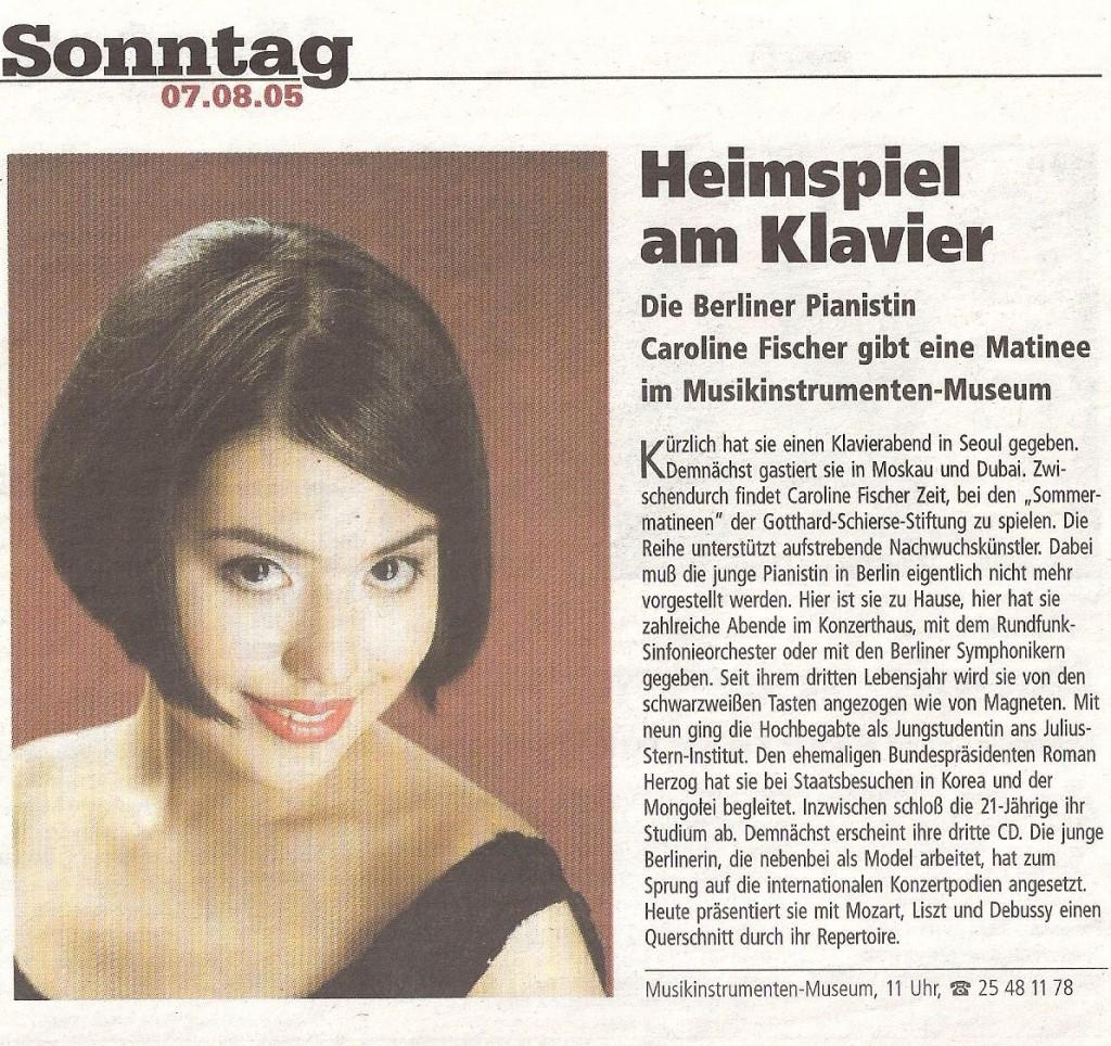 Berliner Morgenpost, 7. August 2005 - Heimspiel am Klavier