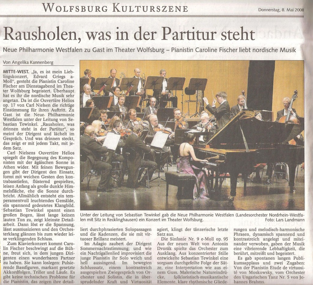 Wolfsburger Nachrichten, Wolfsburg, 8. Mai 2008 - Rausholen, was in der Partitur steht