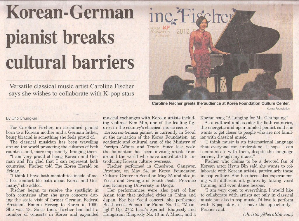 The Korea Herald, 28. May 2012 - Korean-German pianist breaks cultural barriers