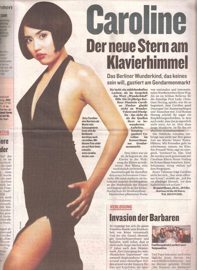 Berliner Kurier, 25. November 2003 - Caroline Der neue Stern am Klavierhimmel