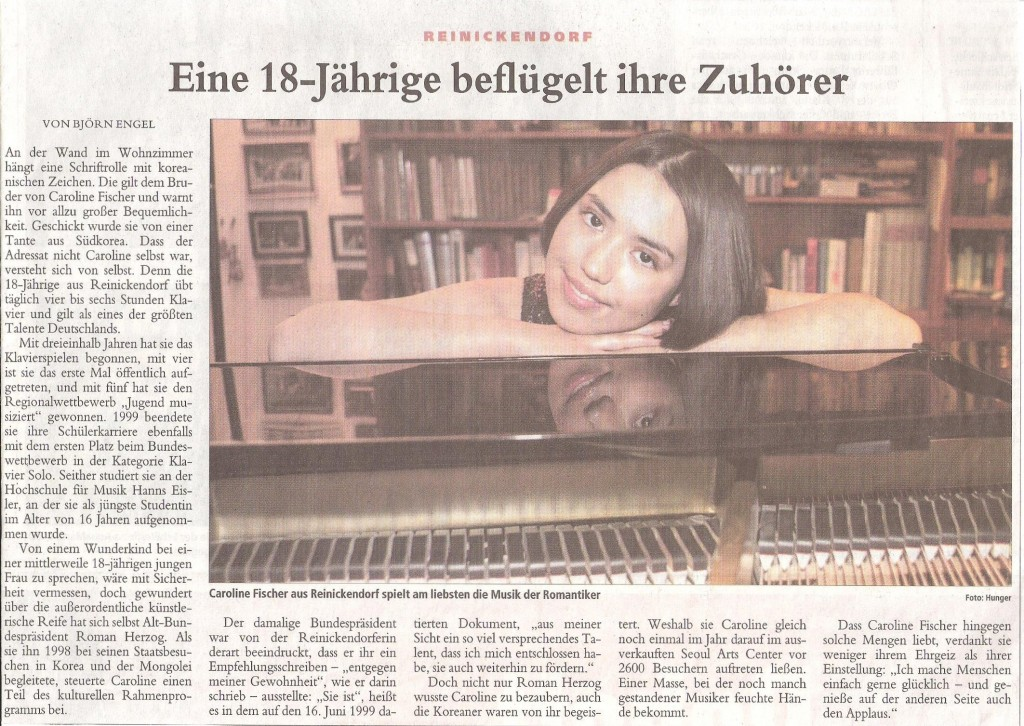 Berliner Morgenpost, 12. Januar 2003- Eine 18-jährige beflügelt ihre Zuhörer