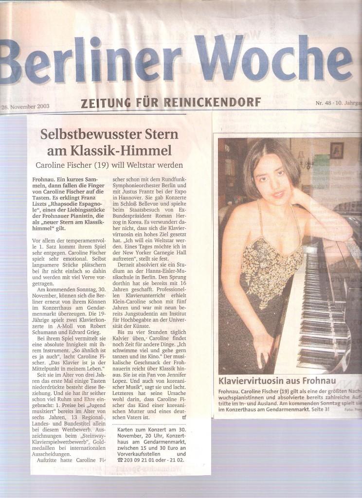 Berliner Woche, 26. November 2003 - Selbstbewusster Stern am Klassikhimmel