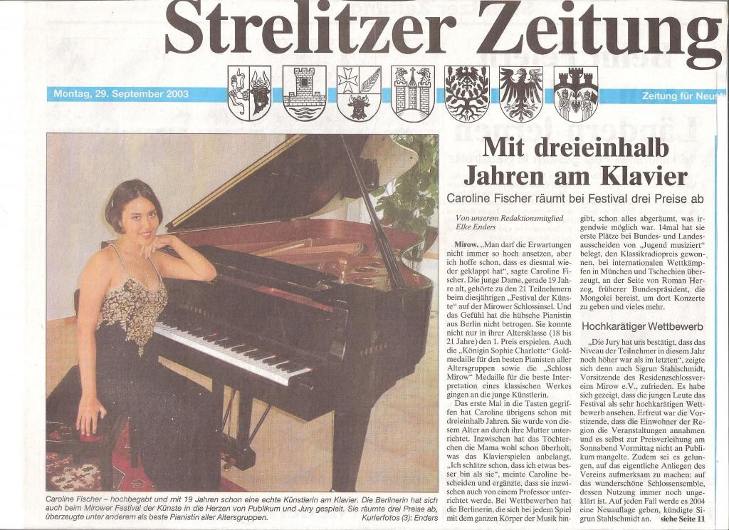 Strelitzer Zeitung, 29. September 2003 - Caroline Fischer räumt beim Wettbewerb drei Preise ab