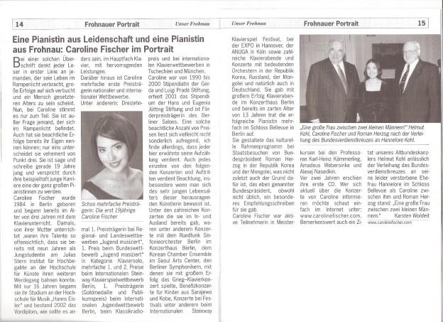 Unser Frohnau, September 2003 - Eine Pianistin aus Leidenschaft und eine Pianistin aus Frohnau Caroline Fischer im Portrait